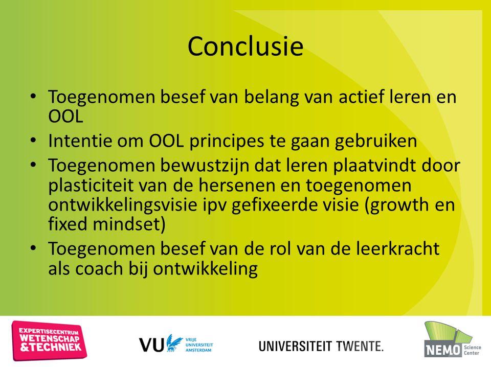 Conclusie Toegenomen besef van belang van actief leren en OOL