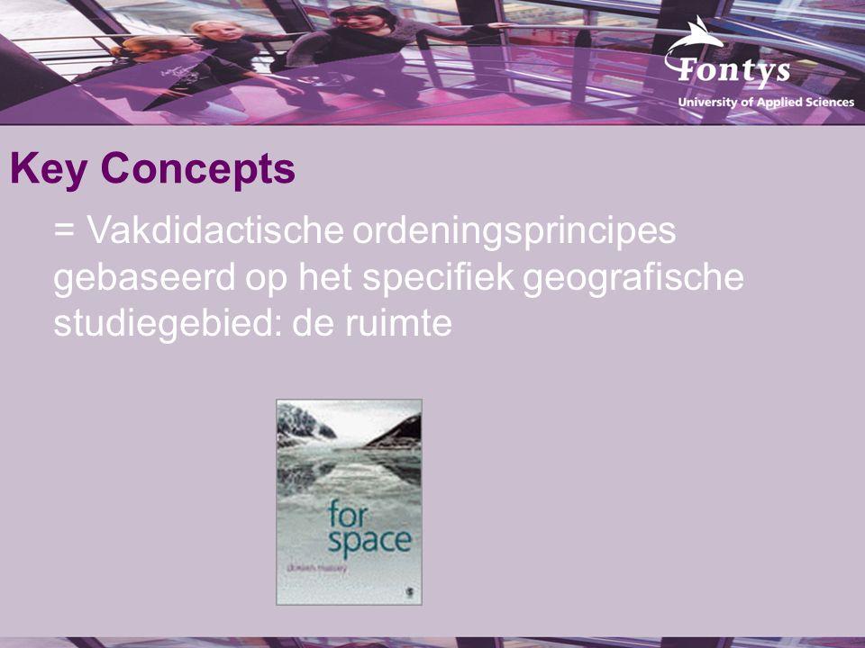 Key Concepts = Vakdidactische ordeningsprincipes gebaseerd op het specifiek geografische studiegebied: de ruimte.