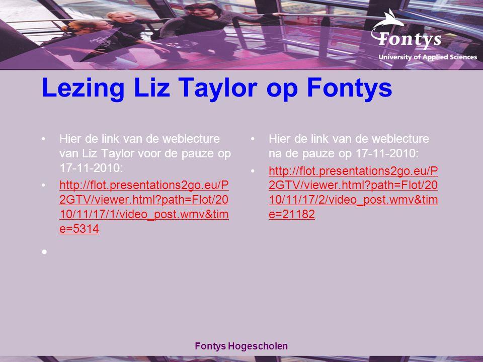 Lezing Liz Taylor op Fontys