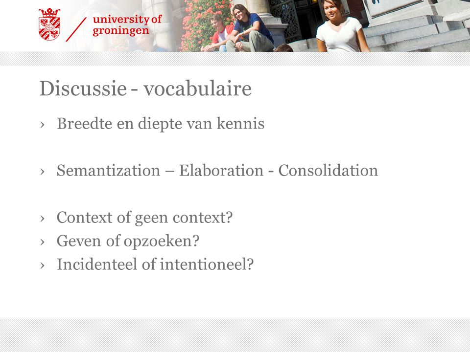 Discussie - vocabulaire