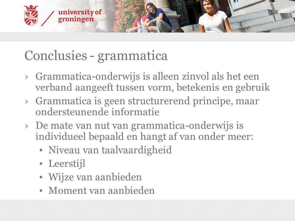 Conclusies - grammatica