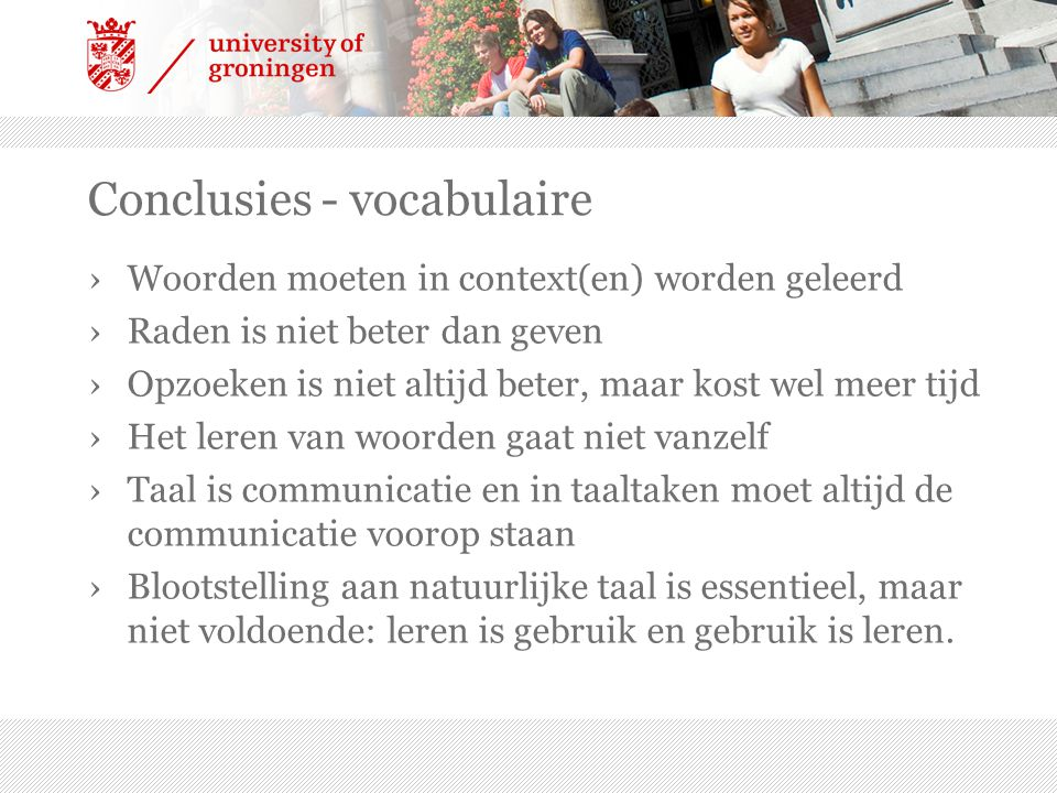 Conclusies - vocabulaire