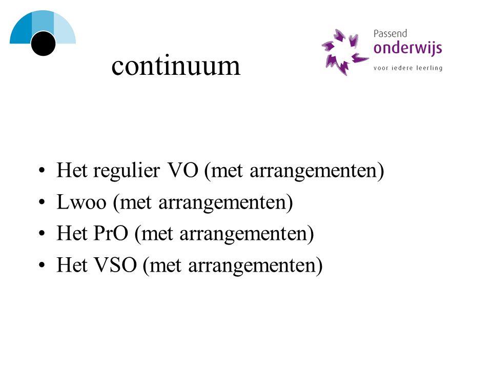 continuum Het regulier VO (met arrangementen) Lwoo (met arrangementen)