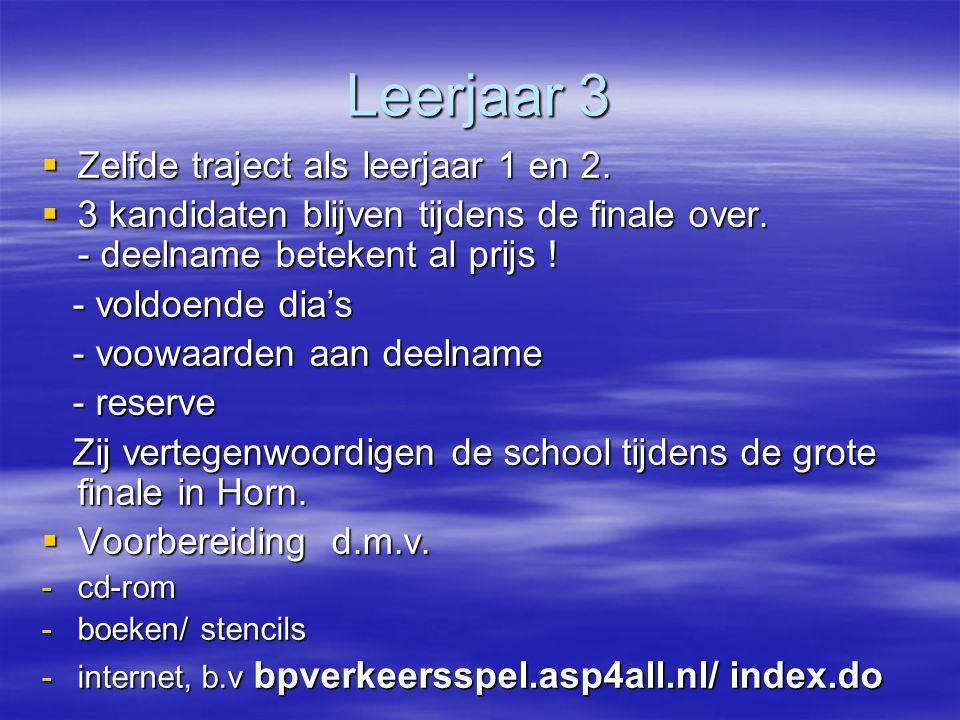Leerjaar 3 Zelfde traject als leerjaar 1 en 2.