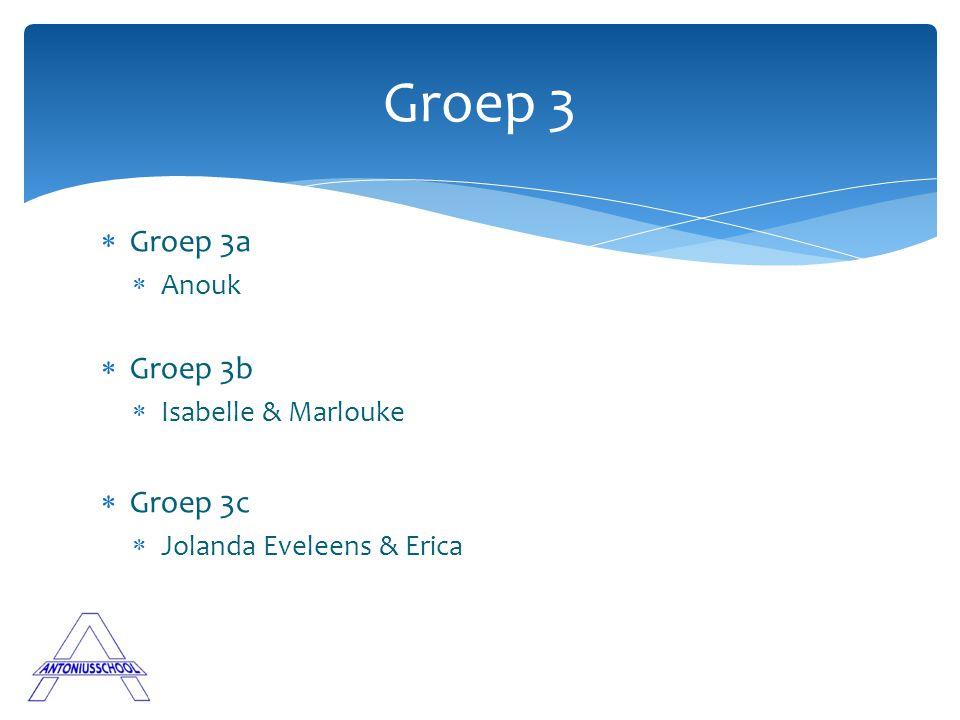Groep 3 Groep 3a Groep 3b Groep 3c Anouk Isabelle & Marlouke