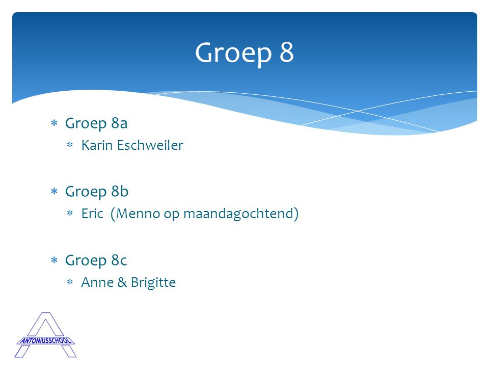 Groep 8 Groep 8a Groep 8b Groep 8c Karin Eschweiler