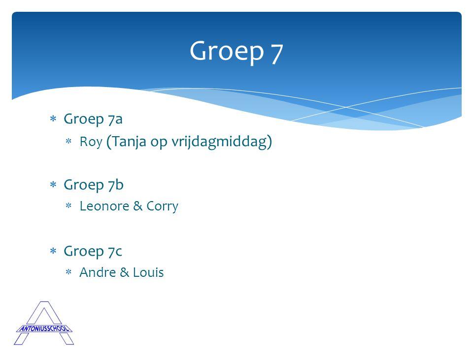 Groep 7 Groep 7a Groep 7b Groep 7c Roy (Tanja op vrijdagmiddag)