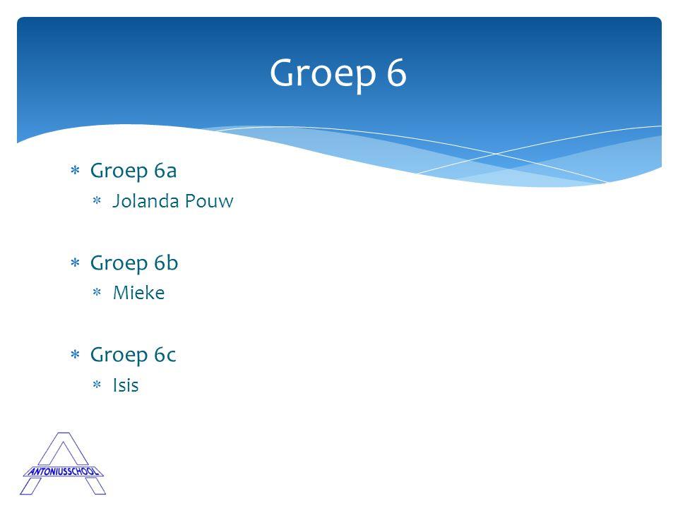 Groep 6 Groep 6a Jolanda Pouw Groep 6b Mieke Groep 6c Isis