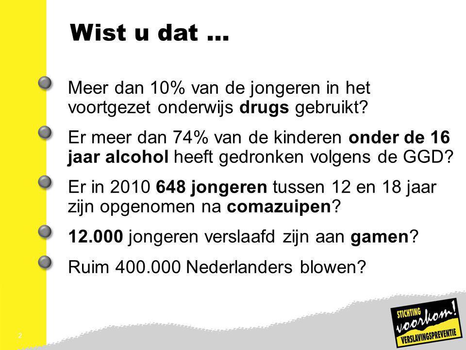 Wist u dat … Meer dan 10% van de jongeren in het voortgezet onderwijs drugs gebruikt