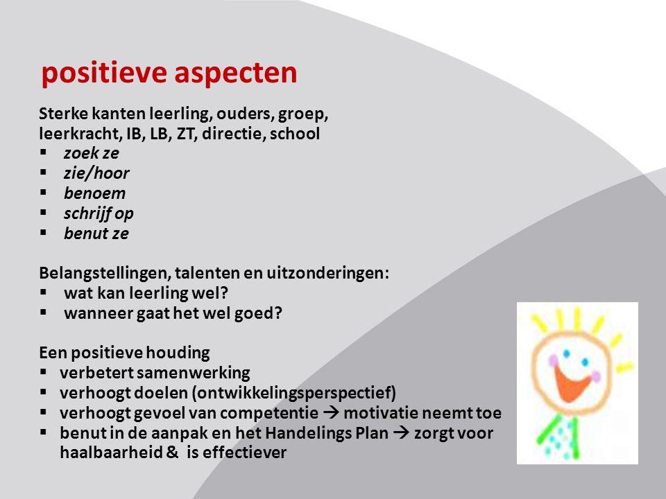 positieve aspecten Sterke kanten leerling, ouders, groep,