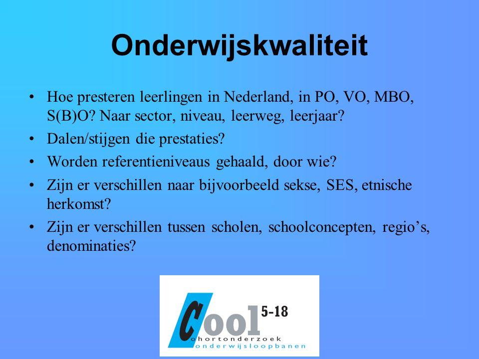 Onderwijskwaliteit Hoe presteren leerlingen in Nederland, in PO, VO, MBO, S(B)O Naar sector, niveau, leerweg, leerjaar