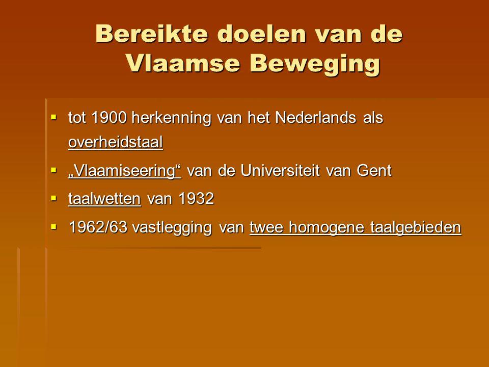 Bereikte doelen van de Vlaamse Beweging