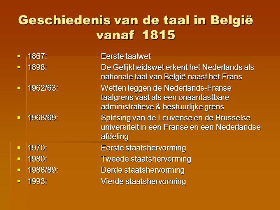 Geschiedenis van de taal in België vanaf 1815
