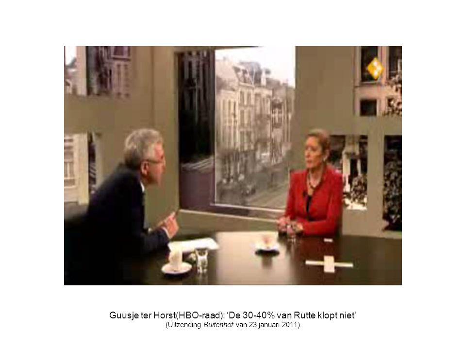 Guusje ter Horst(HBO-raad): 'De 30-40% van Rutte klopt niet'