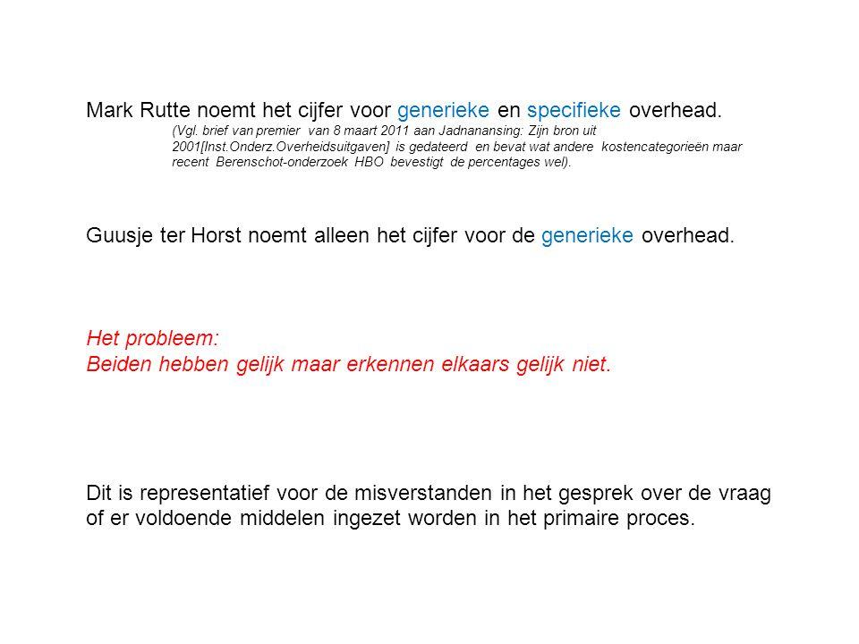 Mark Rutte noemt het cijfer voor generieke en specifieke overhead.