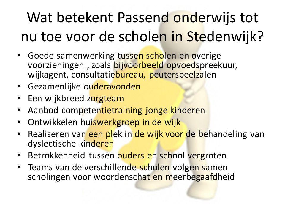 Wat betekent Passend onderwijs tot nu toe voor de scholen in Stedenwijk