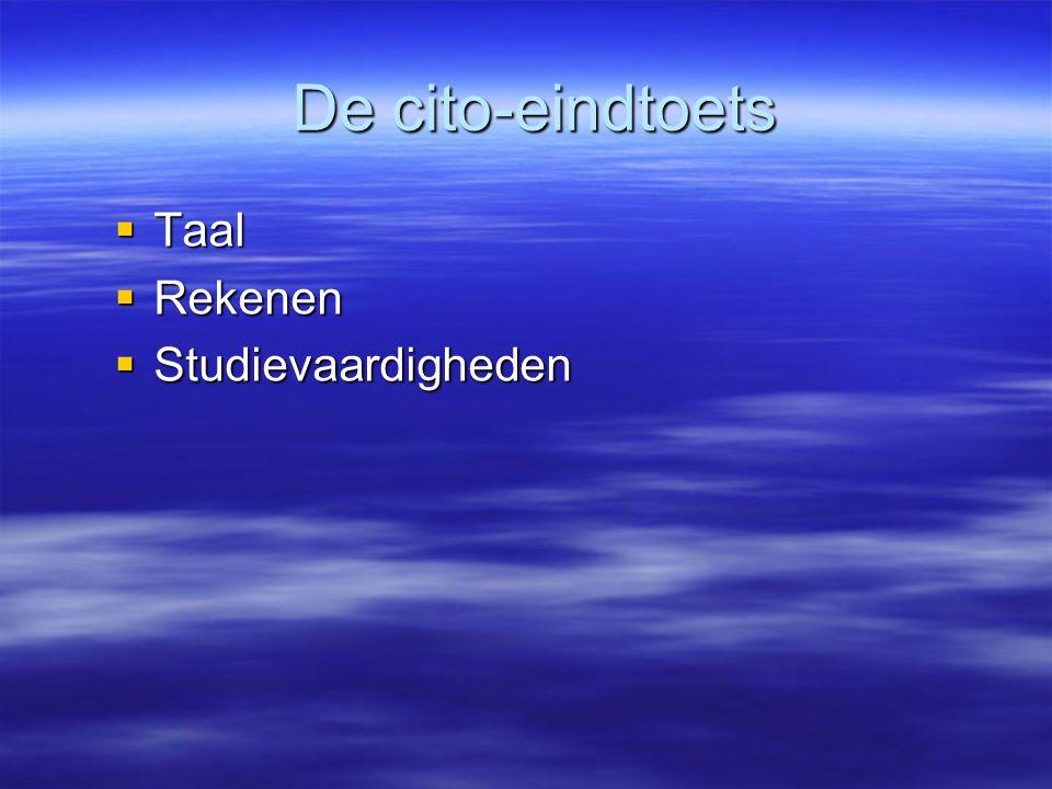 De cito-eindtoets Taal Rekenen Studievaardigheden