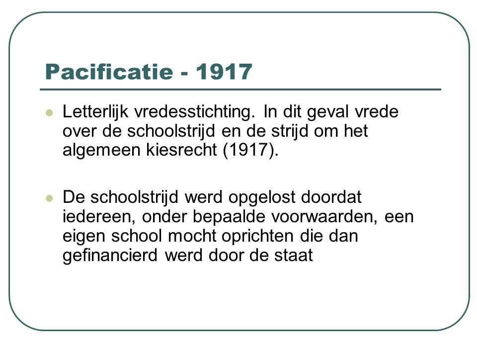 Pacificatie - 1917 Letterlijk vredesstichting. In dit geval vrede over de schoolstrijd en de strijd om het algemeen kiesrecht (1917).