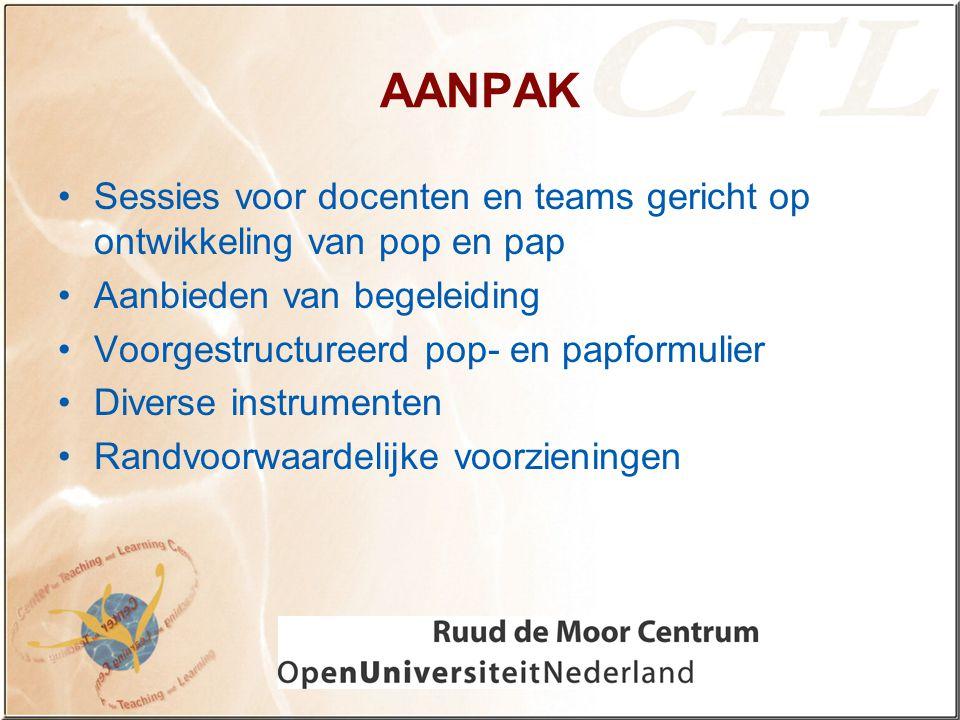 AANPAK Sessies voor docenten en teams gericht op ontwikkeling van pop en pap. Aanbieden van begeleiding.