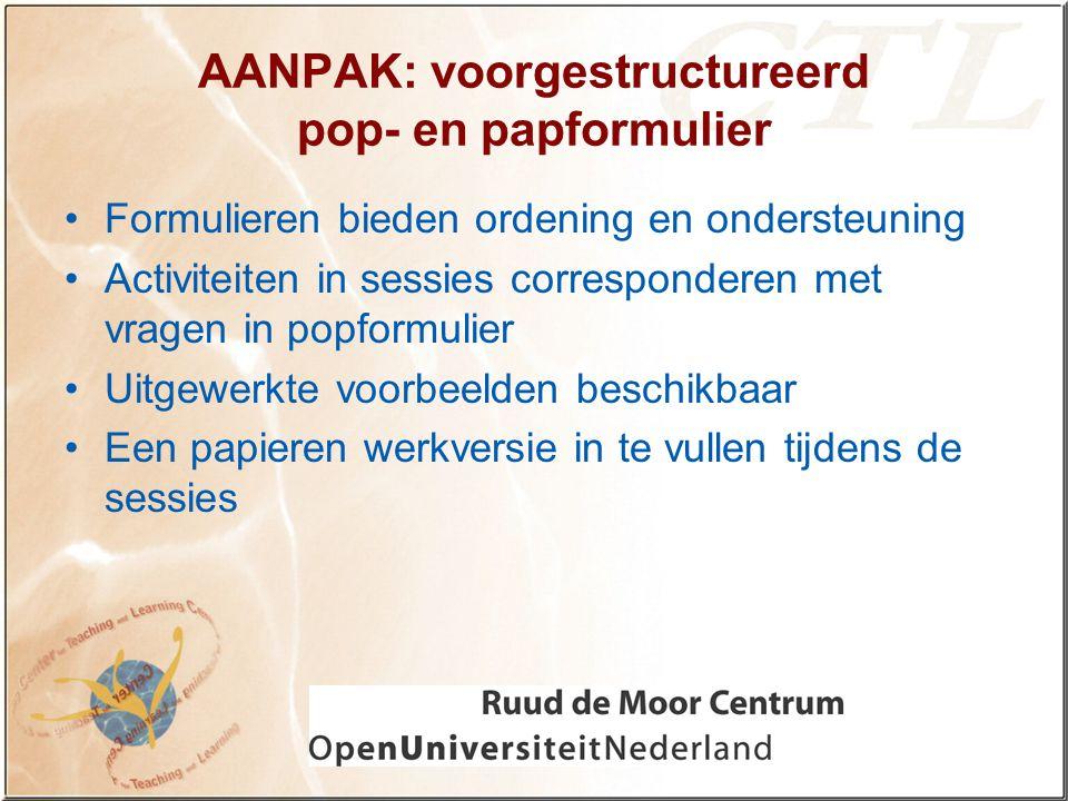 AANPAK: voorgestructureerd pop- en papformulier