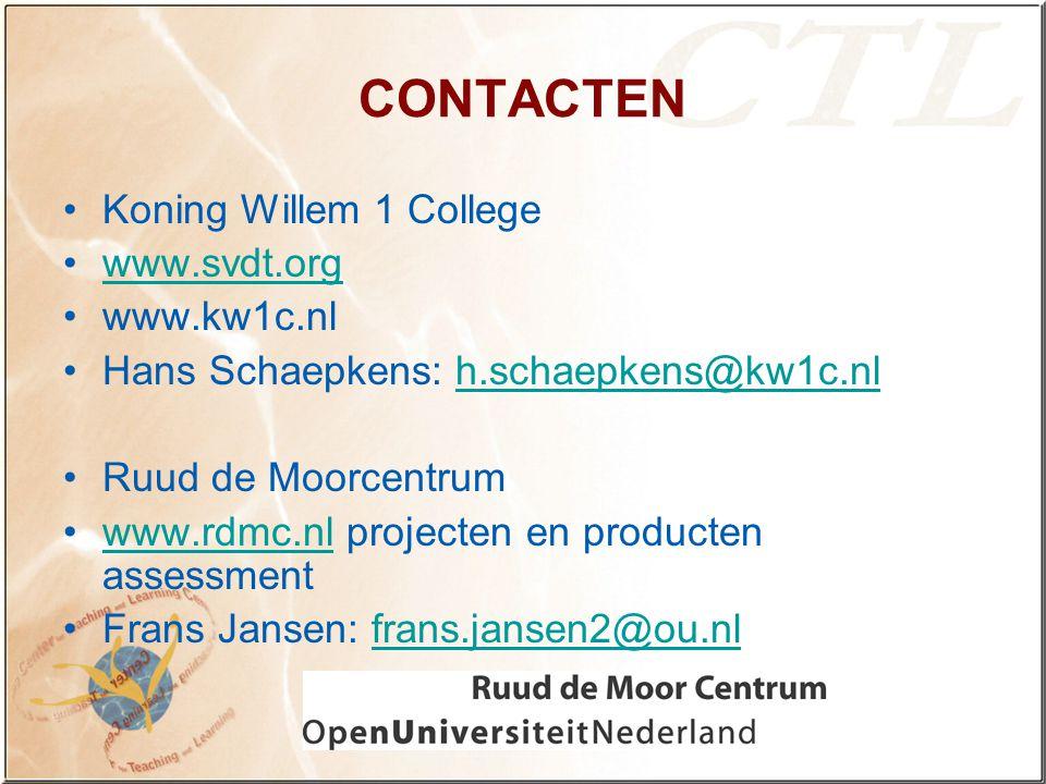 CONTACTEN Koning Willem 1 College www.svdt.org www.kw1c.nl