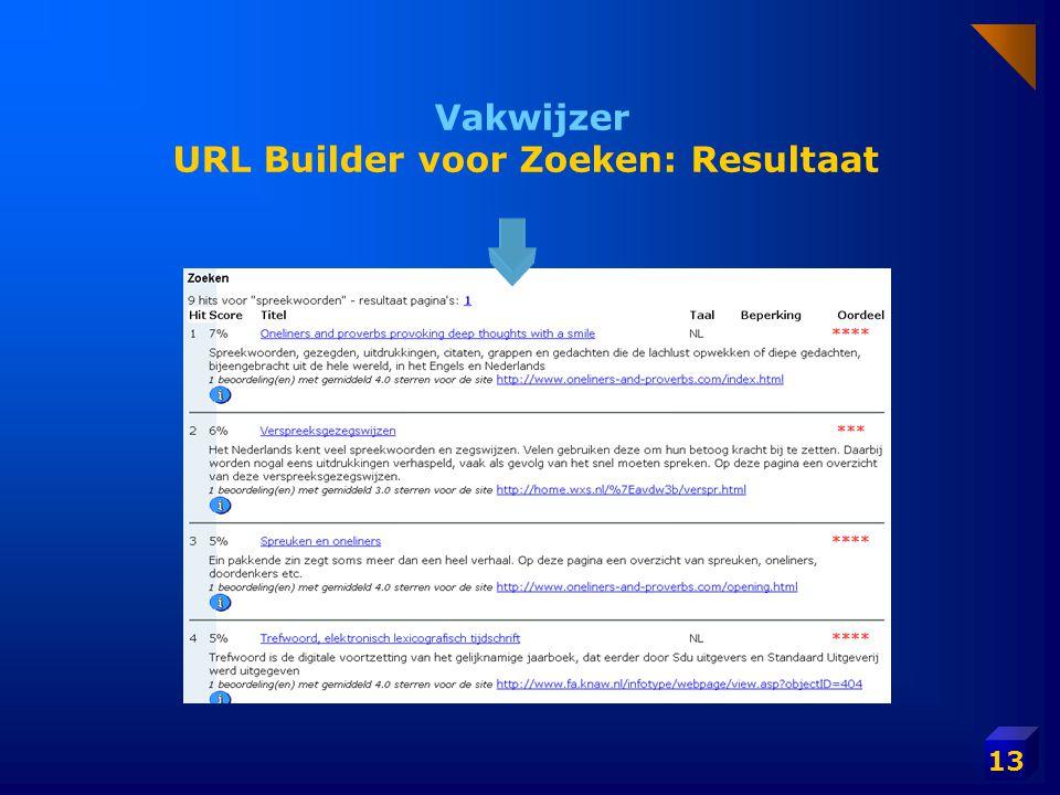 Vakwijzer URL Builder voor Zoeken: Resultaat