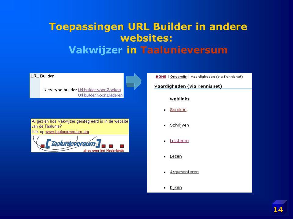 Toepassingen URL Builder in andere websites: Vakwijzer in Taalunieversum