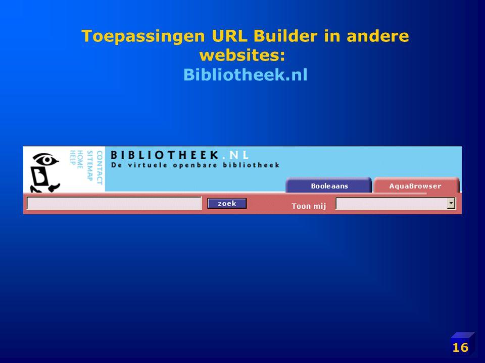 Toepassingen URL Builder in andere websites: Bibliotheek.nl