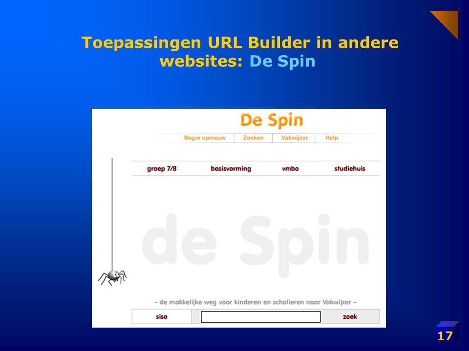 Toepassingen URL Builder in andere websites: De Spin