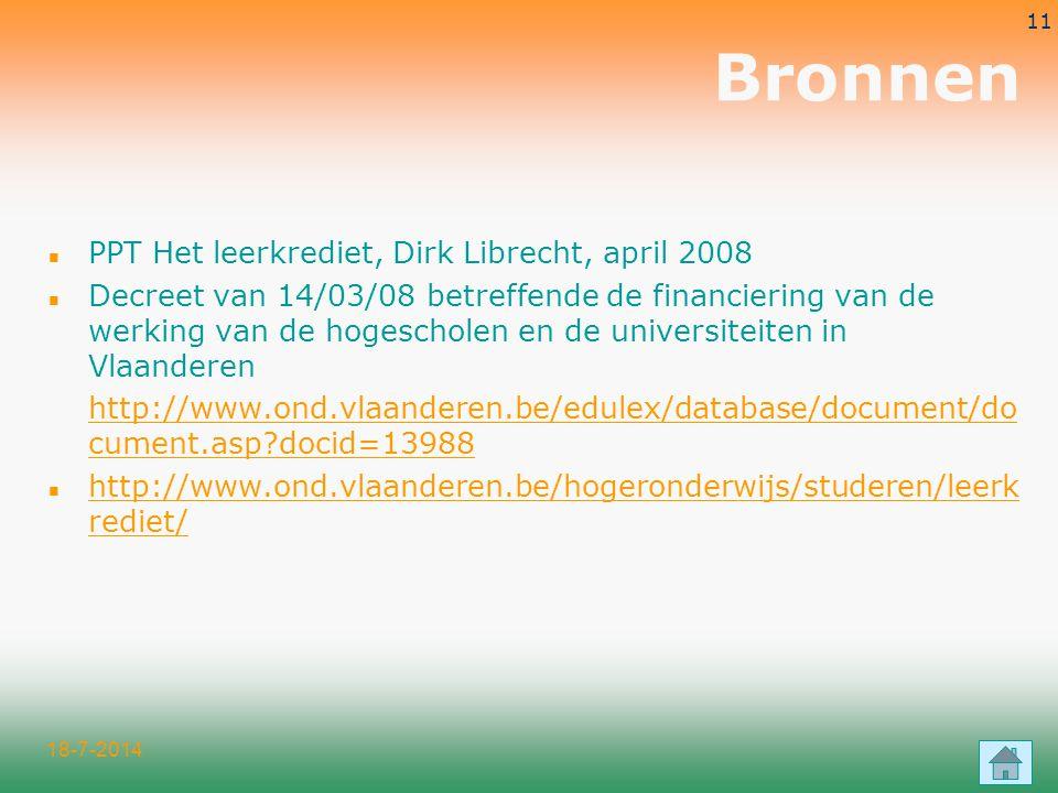 Bronnen PPT Het leerkrediet, Dirk Librecht, april 2008