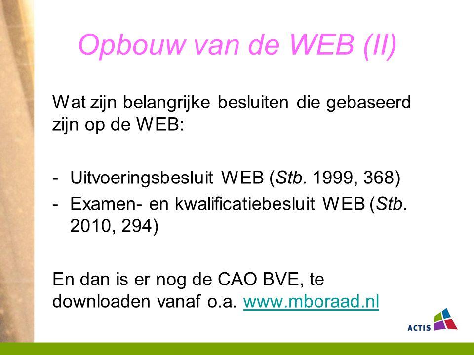 Opbouw van de WEB (II) Wat zijn belangrijke besluiten die gebaseerd zijn op de WEB: Uitvoeringsbesluit WEB (Stb. 1999, 368)