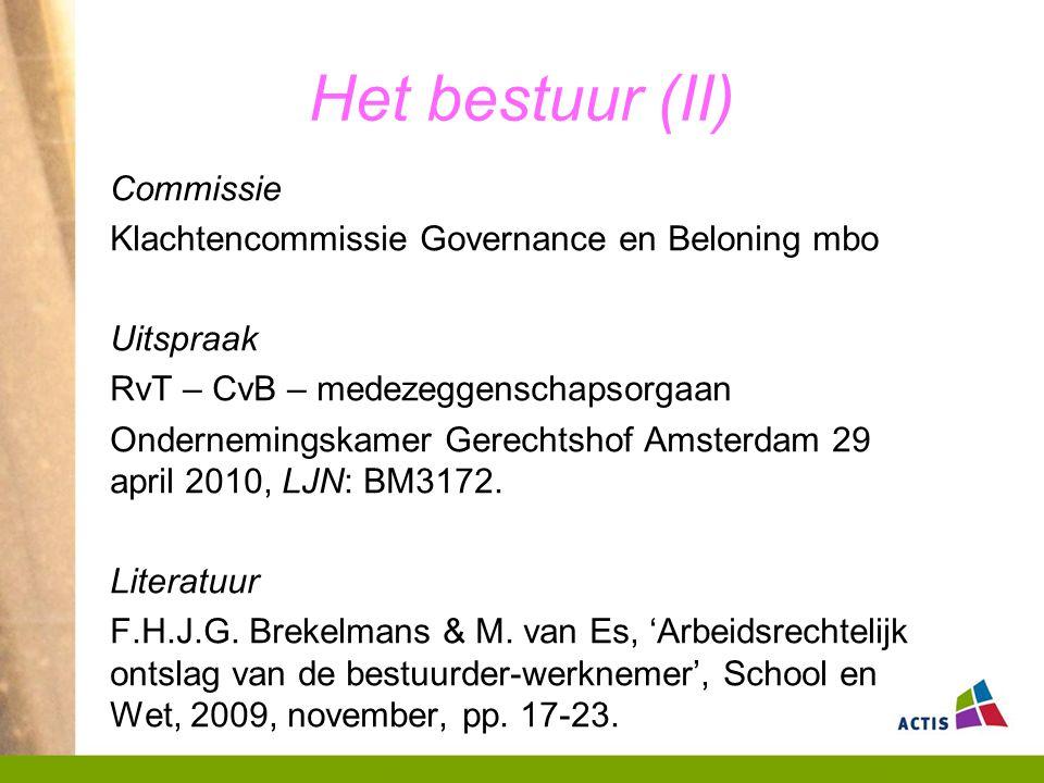 Het bestuur (II) Commissie