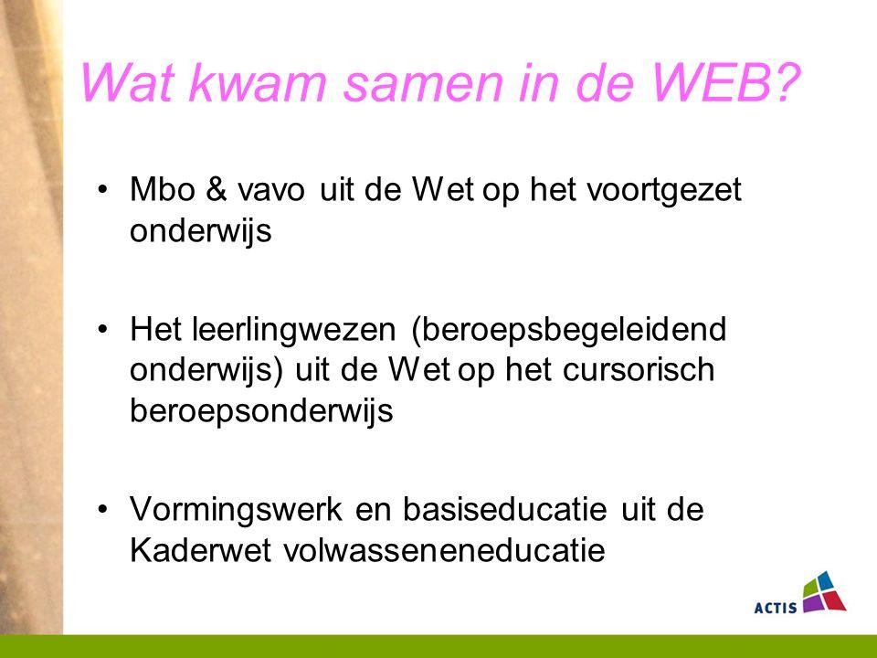 Wat kwam samen in de WEB Mbo & vavo uit de Wet op het voortgezet onderwijs.