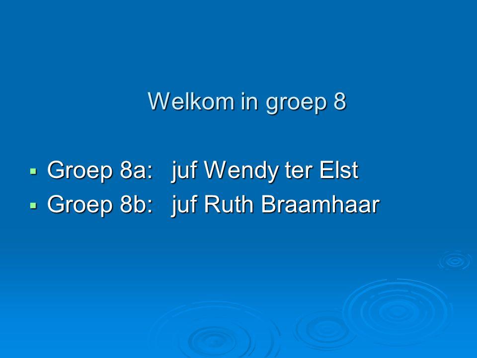 Groep 8a: juf Wendy ter Elst Groep 8b: juf Ruth Braamhaar