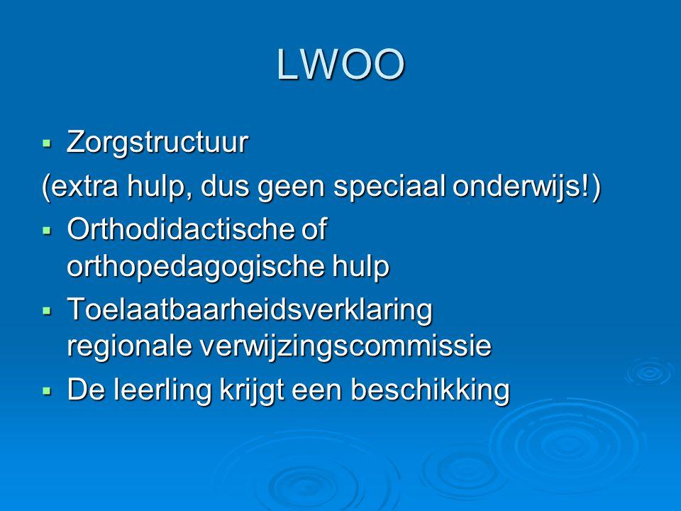 LWOO Zorgstructuur (extra hulp, dus geen speciaal onderwijs!)