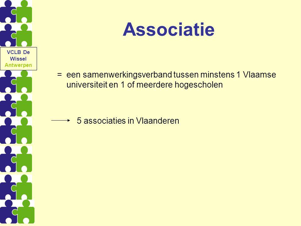 VCLB De Wissel Antwerpen. Associatie. = een samenwerkingsverband tussen minstens 1 Vlaamse universiteit en 1 of meerdere hogescholen.