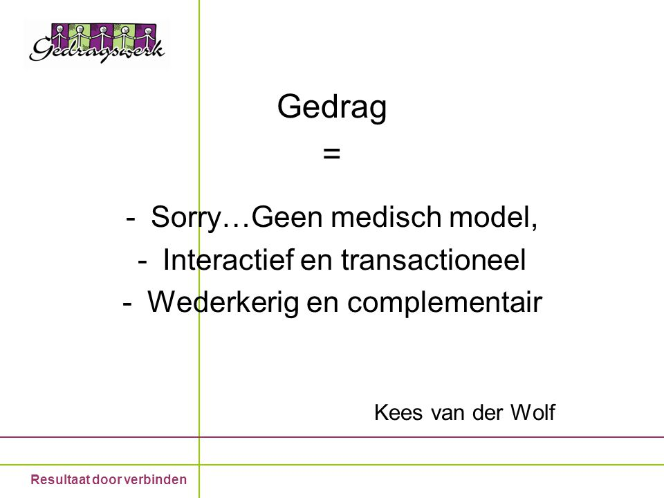 Gedrag = Sorry…Geen medisch model, Interactief en transactioneel