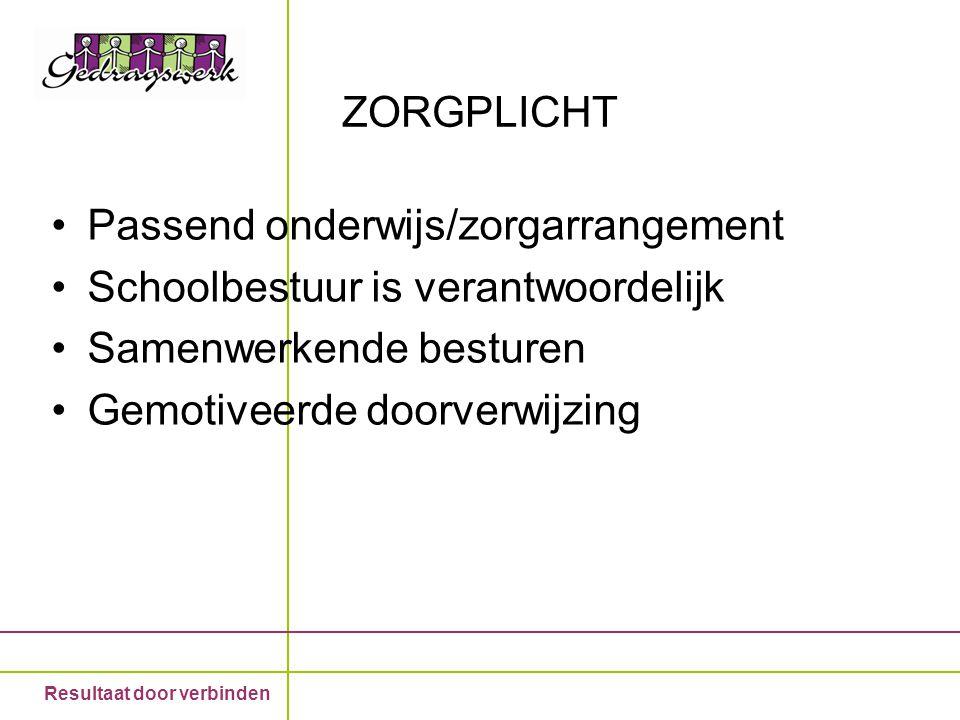 ZORGPLICHT Passend onderwijs/zorgarrangement. Schoolbestuur is verantwoordelijk. Samenwerkende besturen.
