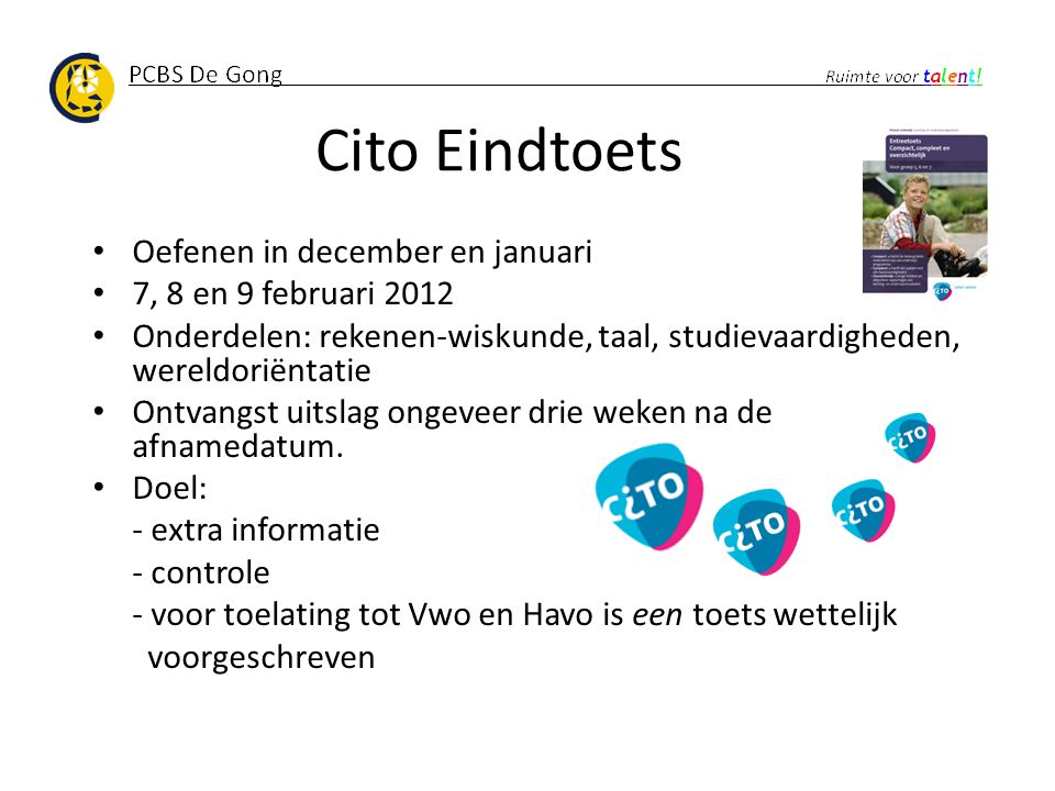 Cito Eindtoets Oefenen in december en januari 7, 8 en 9 februari 2012