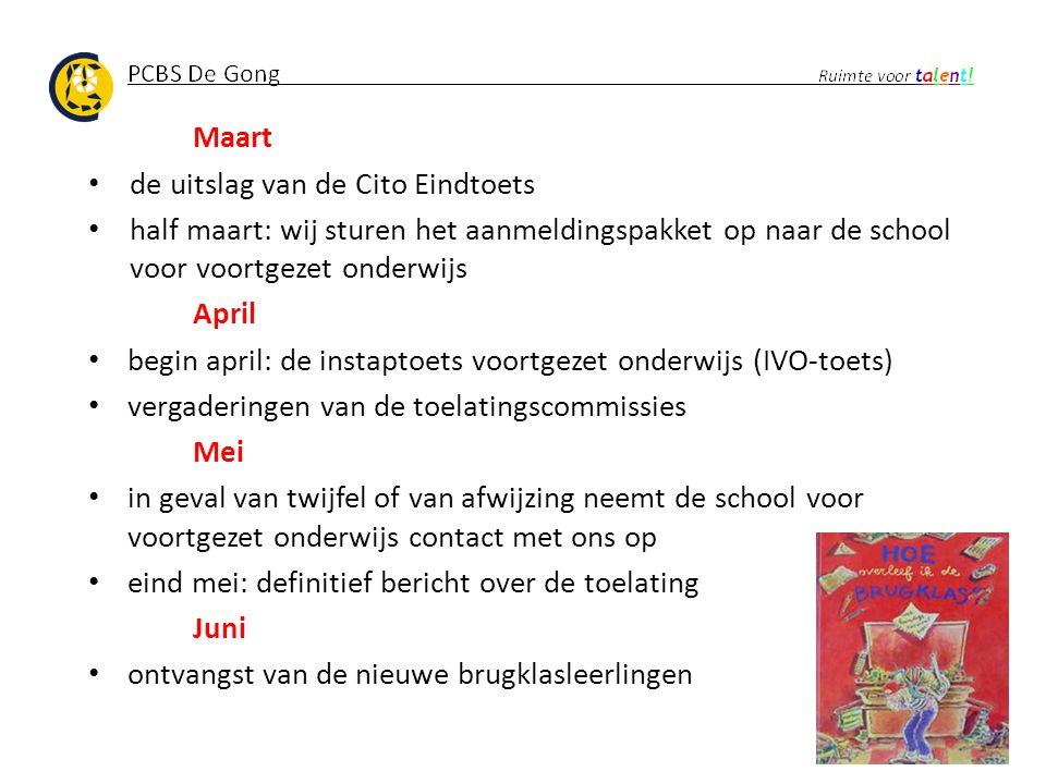 Maart de uitslag van de Cito Eindtoets. half maart: wij sturen het aanmeldingspakket op naar de school voor voortgezet onderwijs.