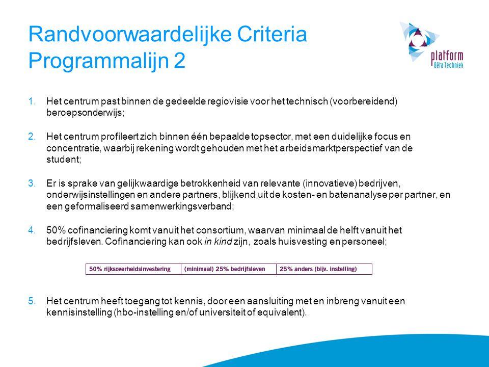 Randvoorwaardelijke Criteria Programmalijn 2
