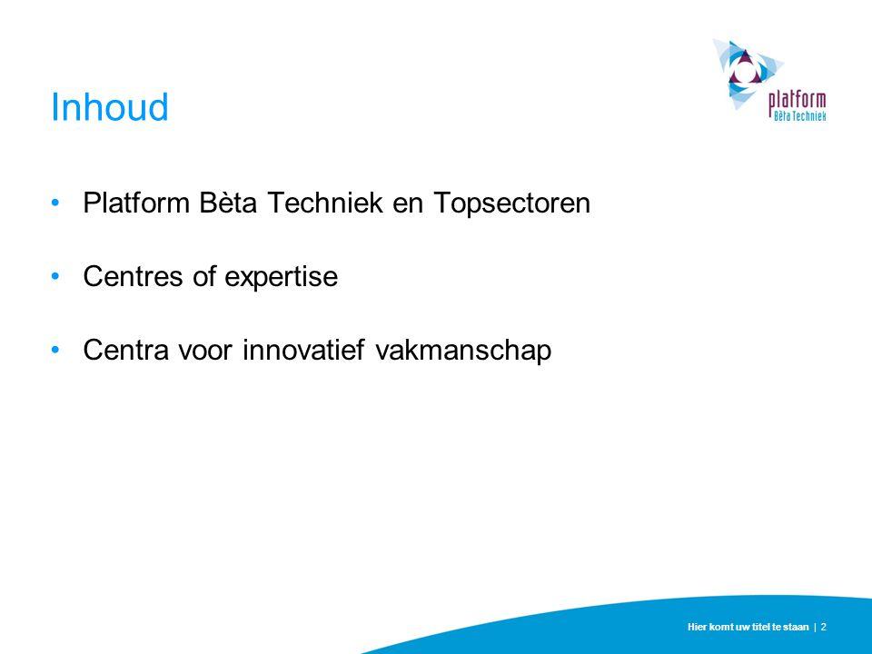 Inhoud Platform Bèta Techniek en Topsectoren Centres of expertise