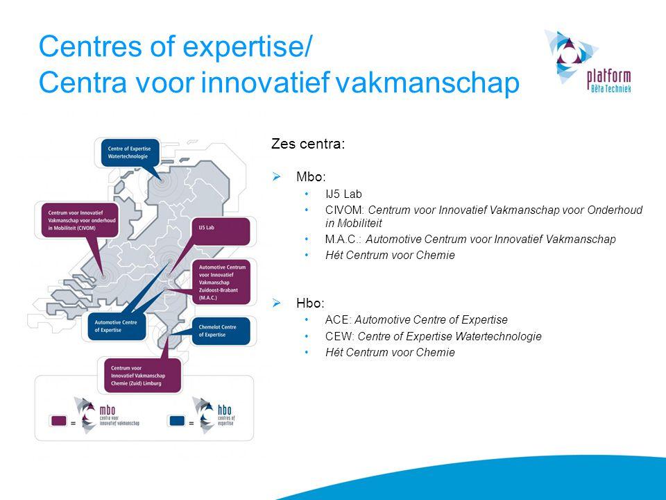 Centres of expertise/ Centra voor innovatief vakmanschap