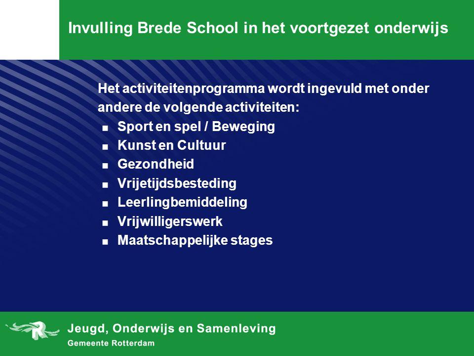 Invulling Brede School in het voortgezet onderwijs