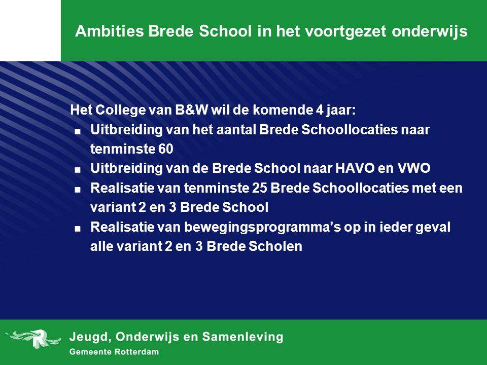 Ambities Brede School in het voortgezet onderwijs