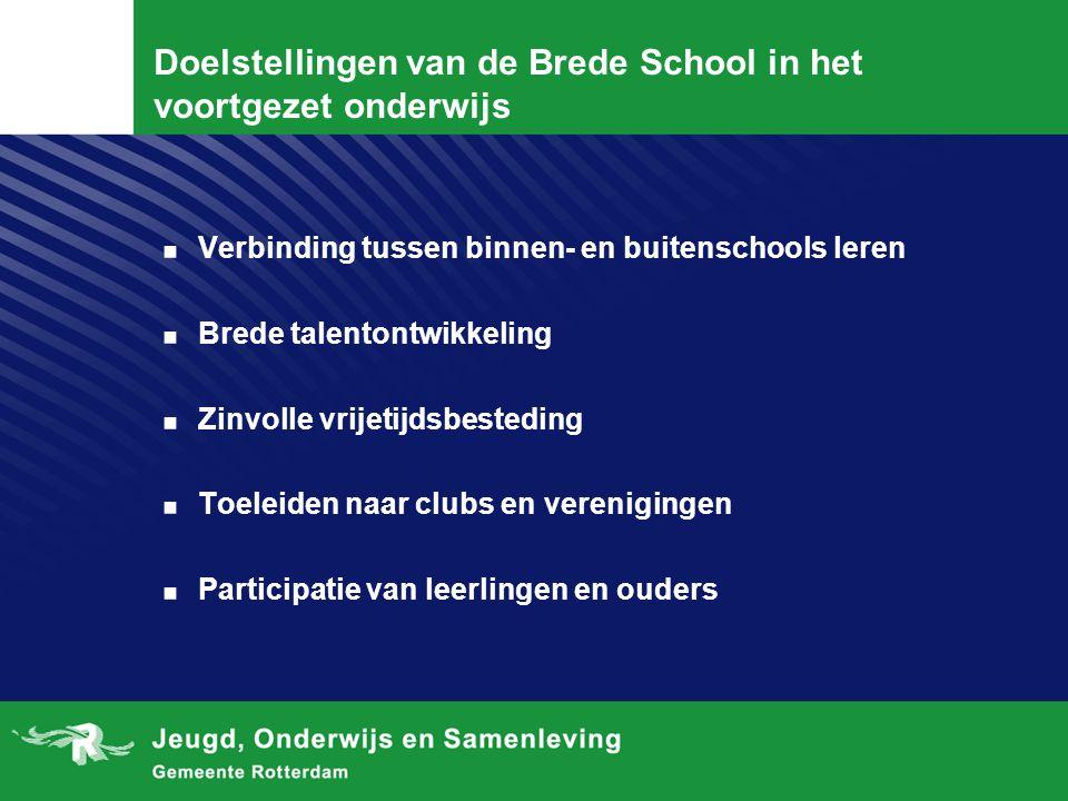 Doelstellingen van de Brede School in het voortgezet onderwijs