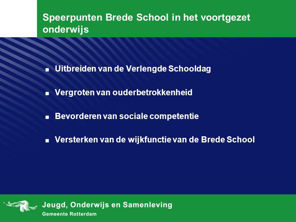 Speerpunten Brede School in het voortgezet onderwijs