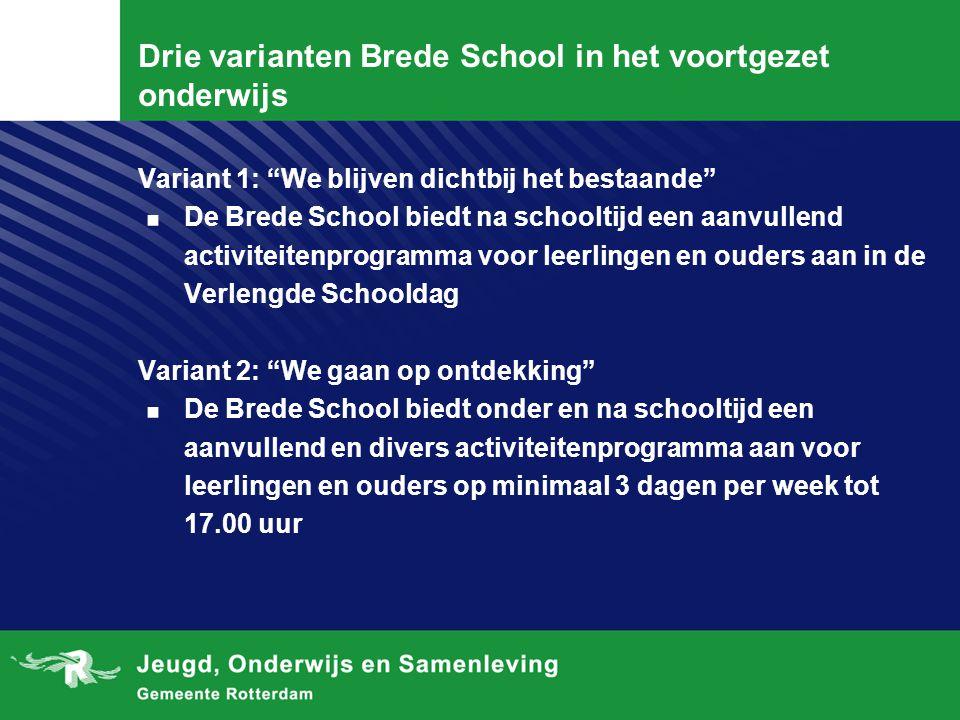 Drie varianten Brede School in het voortgezet onderwijs