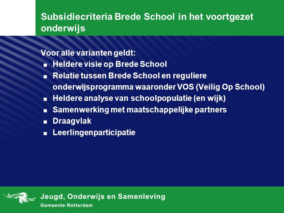 Subsidiecriteria Brede School in het voortgezet onderwijs