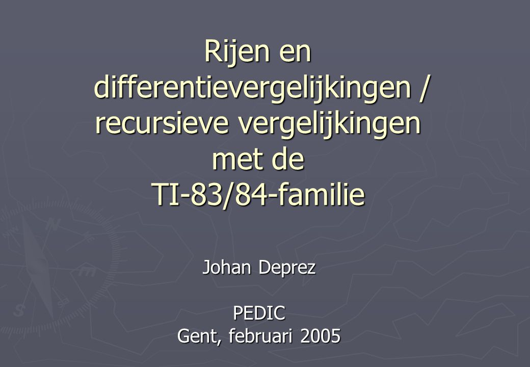 Johan Deprez PEDIC Gent, februari 2005
